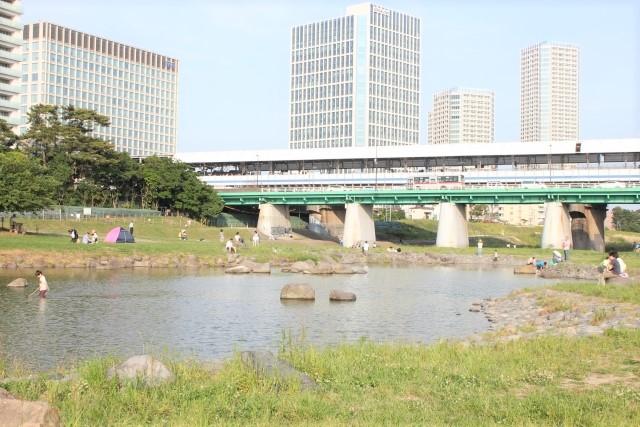 二子玉川河川敷電車高架下